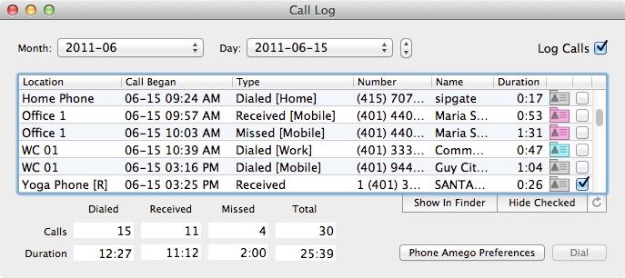 Phone Call Logging